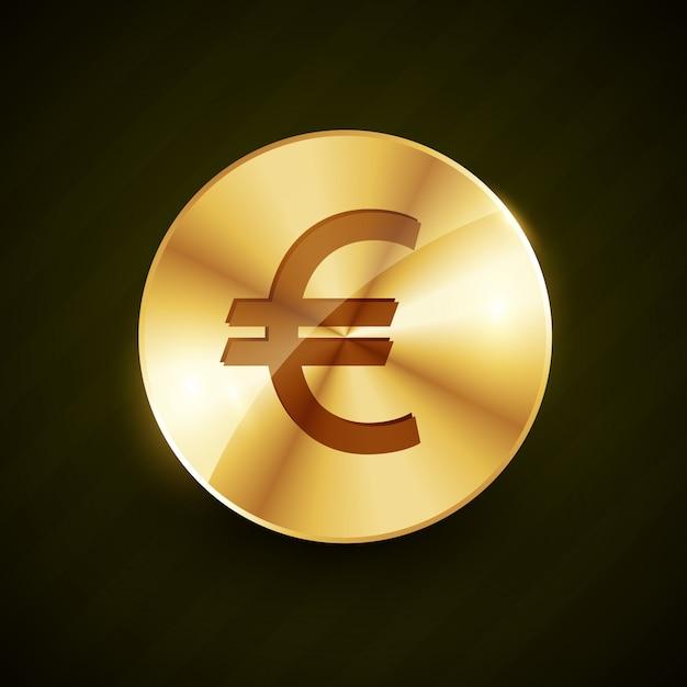 Gouden euro symbool glanzend munt Premium Vector