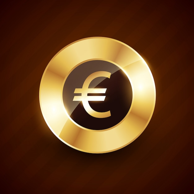 Gouden euromunt met glanzende effecten Premium Vector