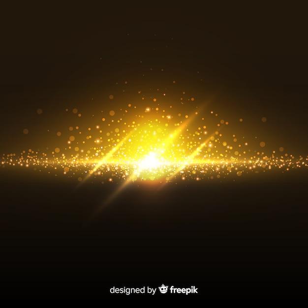 Gouden explosie deeltje effect op zwarte achtergrond Gratis Vector