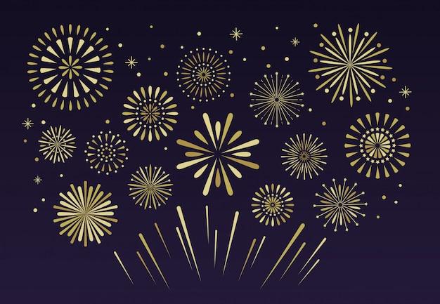 Gouden feestelijk vuurwerk. kerst vuurwerk pyrotechniek Premium Vector
