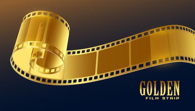 Gouden filmrol strip in 3d-stijl Gratis Vector