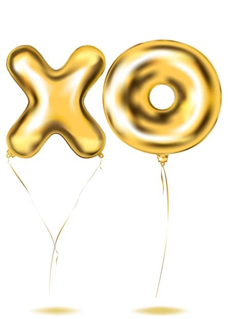 Gouden folie xo-letters ballon Premium Vector