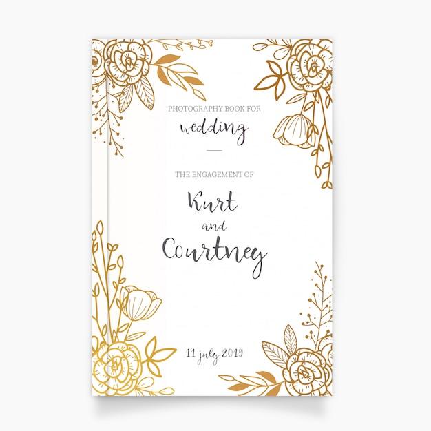 Gouden fotografie boekomslag voor bruiloft Gratis Vector