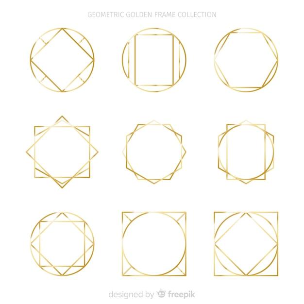 Gouden frame-collectie Gratis Vector