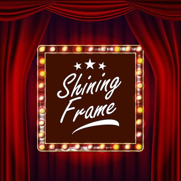 Gouden frame gloeilampen vector. rode achtergrond. realistisch retro frame design element board. Premium Vector