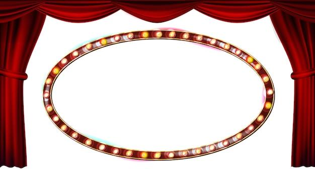 Gouden frame gloeilampen vector. rood theatergordijn. zijde textiel. glanzend retro licht reclamebord. realistische retro illustratie Premium Vector