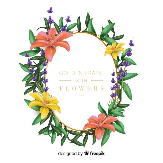 Gouden frame met bloemen Gratis Vector