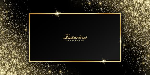 Gouden frame met confetti glitter en glanzende fonkeling Premium Vector