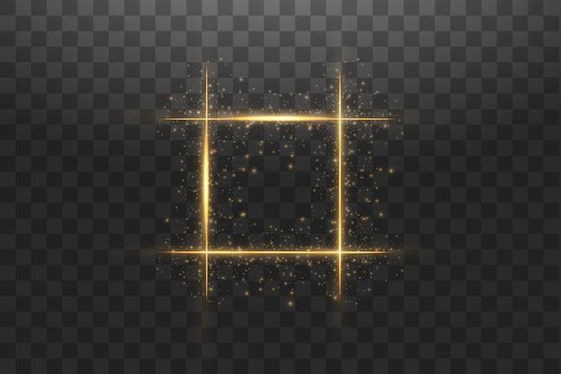 Gouden frame met lichteffecten. glanzende luxe banner afbeelding. Premium Vector