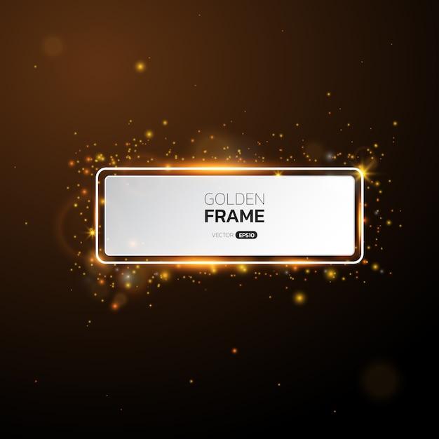 Gouden frame met lichteffecten, glanzende luxe banner. Premium Vector