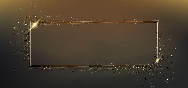 Gouden frame met lichteffecten Premium Vector