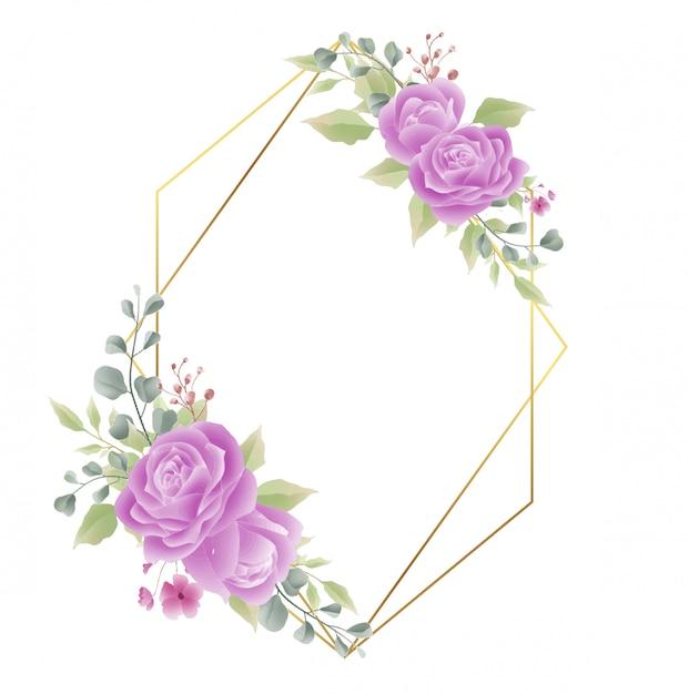 Gouden frame met roze decoraties Premium Vector