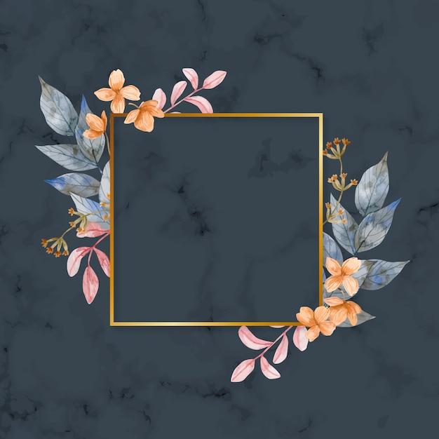 Gouden frame met winterbloemen Premium Vector