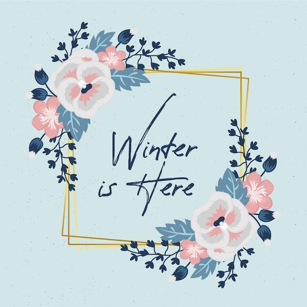 Gouden frame met winterbloemen Gratis Vector