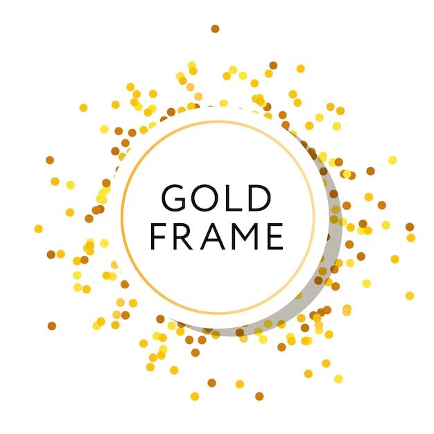 Gouden frame ronde minimalistische vector design banner Premium Vector