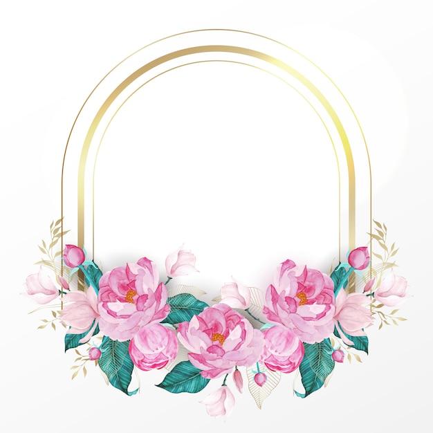 Gouden frame versierd met roze bloem in aquarel stijl voor bruiloft uitnodigingskaart Gratis Vector