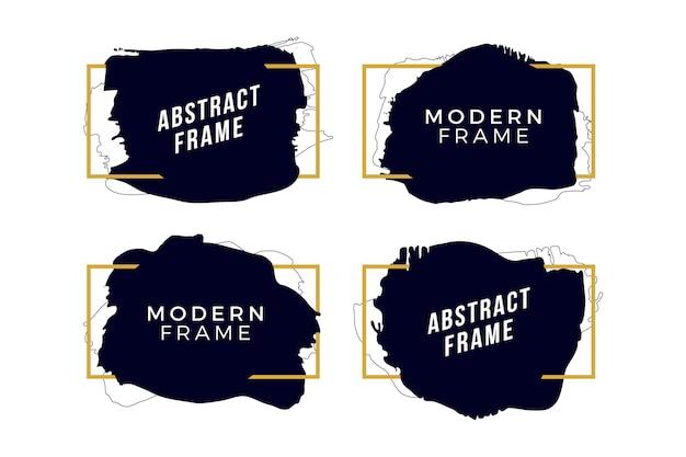 Gouden frames met penseelstreken Gratis Vector