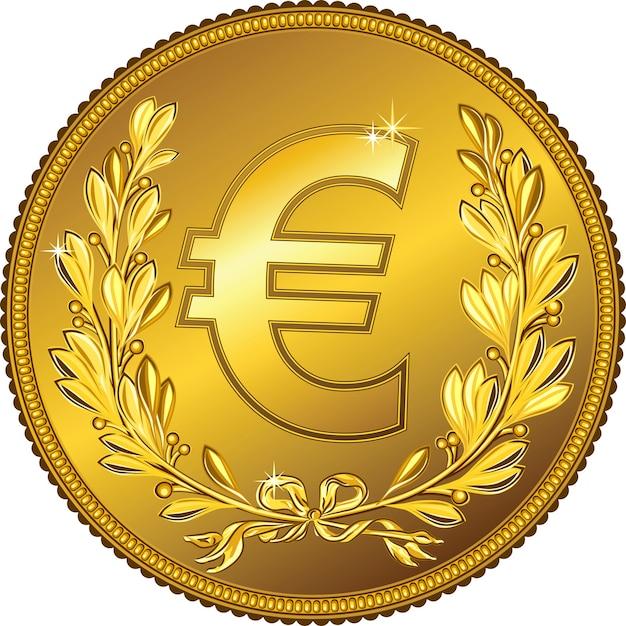 Gouden geld euromunt met een lauwerkrans Premium Vector