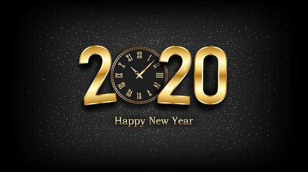 Gouden gelukkig nieuw jaar 2020 en klok met burst-glitter op zwart Premium Vector