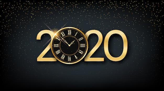 Gouden gelukkig nieuw jaar 2020 en klok met glitter op zwarte kleur achtergrond Premium Vector