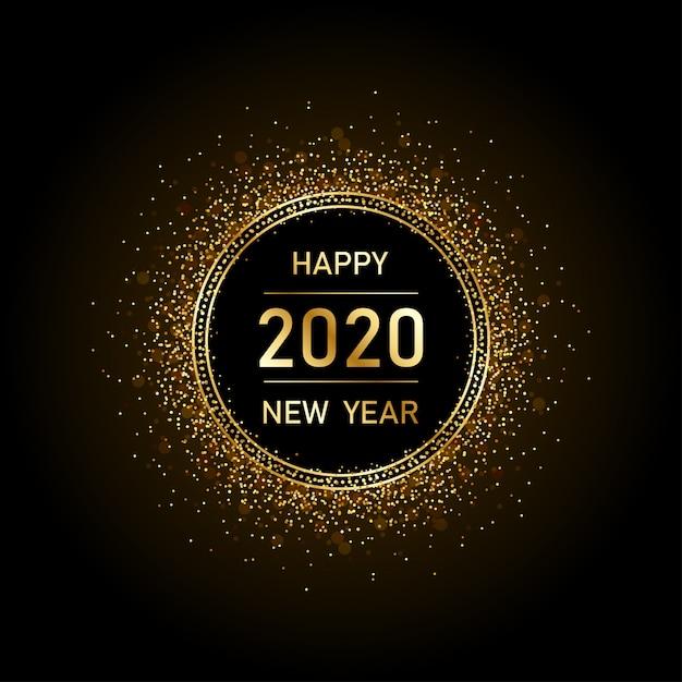 Gouden gelukkig nieuw jaar 2020 in cirkel ring vuurwerk met burst glitter zwarte achtergrond Premium Vector