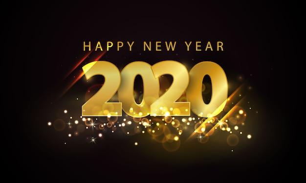 Gouden gelukkig nieuwjaar 2020-achtergrond. Premium Vector