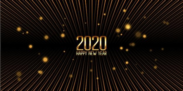 Gouden gelukkig nieuwjaar banner Gratis Vector