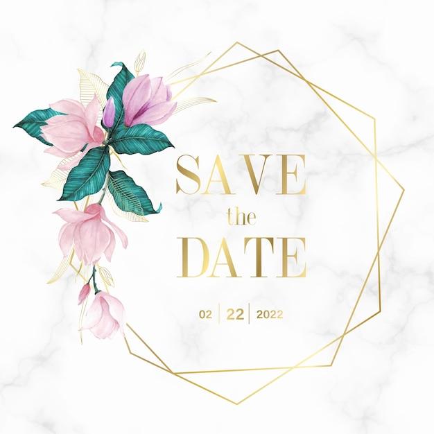 Gouden geometrisch frame met bloemen op marmeren achtergrond voor het logo van het huwelijksmonogram en uitnodigingskaart Gratis Vector
