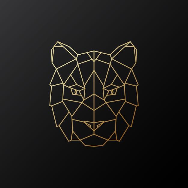 Gouden geometrisch tijgerhoofd. Premium Vector
