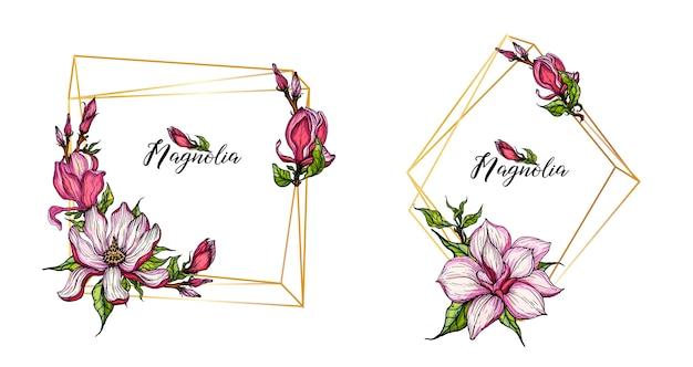 Gouden geometrische gouden frames met magnolia-bloemen Premium Vector