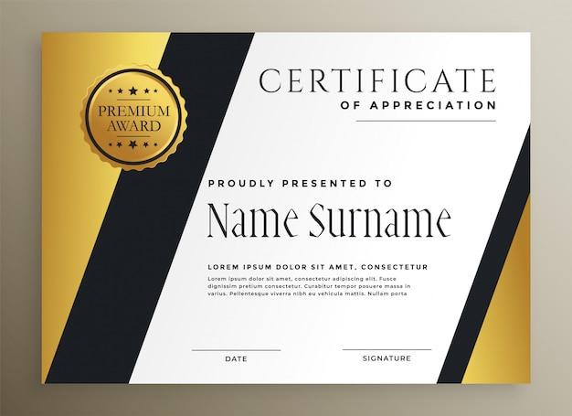 Gouden geometrische multifunctionele premium certificaatsjabloon Gratis Vector