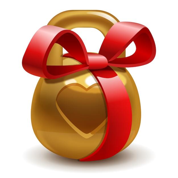 Gouden geschenk kettlebell met een strik Premium Vector
