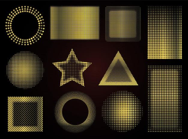 Gouden gestippelde vormen Premium Vector