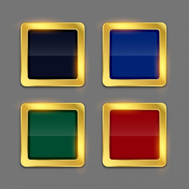 Gouden glanzende frame knop in vier kleuren ingesteld Gratis Vector