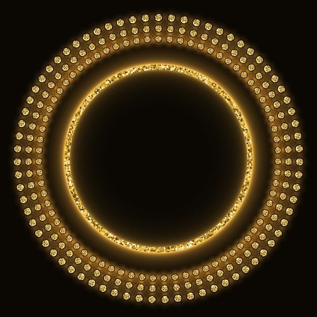 Gouden glinsterende ronde achtergrond Premium Vector
