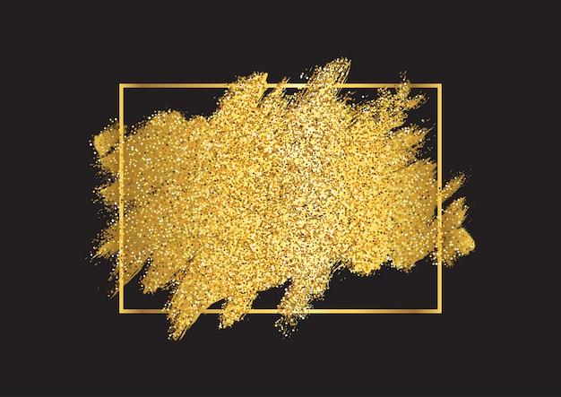 Gouden glitter achtergrond met een metalen gouden frame Gratis Vector