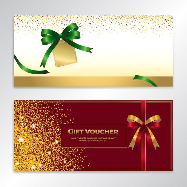 Gouden glitter cadeaubon, certificaat, kortingsbon voor de feestdagen Premium Vector