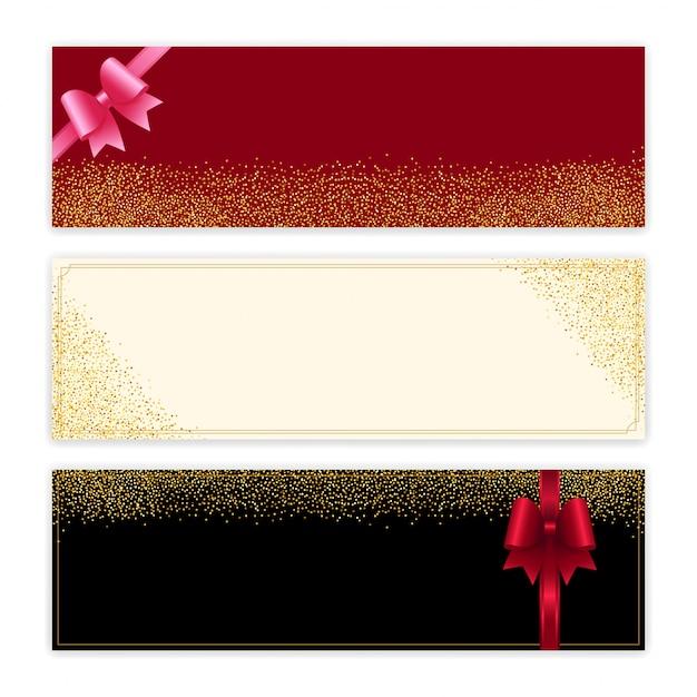 Gouden glitter cadeaubon Premium Vector