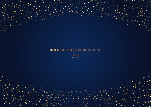 Gouden glitter feestelijke blauwe achtergrond Premium Vector