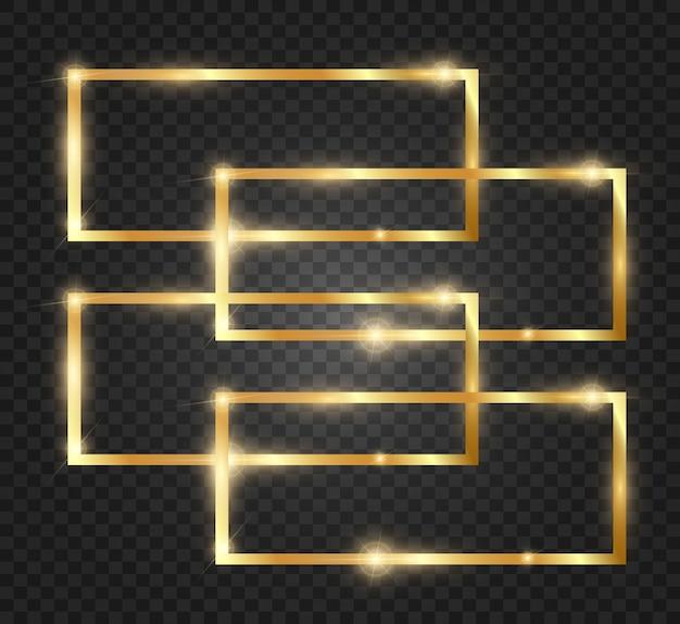 Gouden glitter met glanzend gouden frame op een transparante zwarte achtergrond. Premium Vector