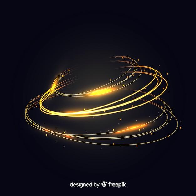 Gouden gloeiende spiraalvormige lichte lijn Gratis Vector