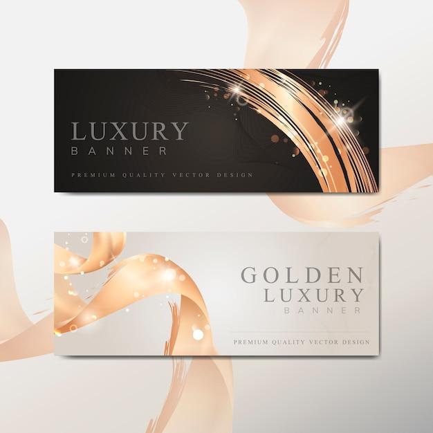 Gouden golf abstracte banner vector Gratis Vector