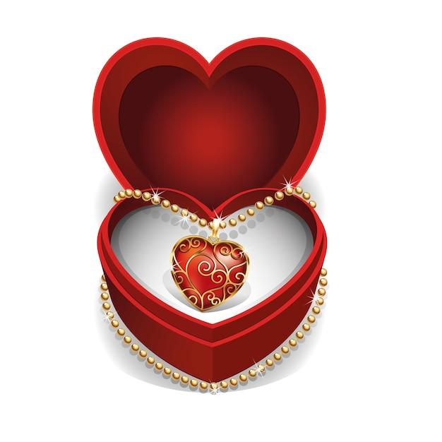 Gouden halssnoer met rood hart edelsteen in rood fluwelen doos. Premium Vector