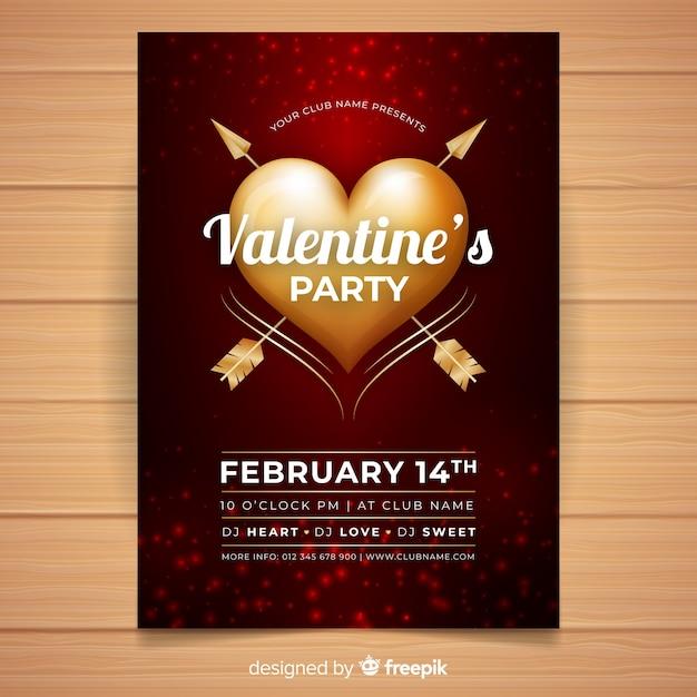 Gouden hart valentijn partij poster sjabloon Gratis Vector