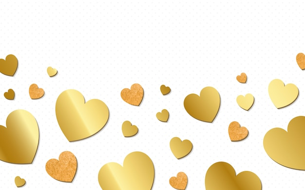 Gouden harten achtergrondontwerpvector Gratis Vector