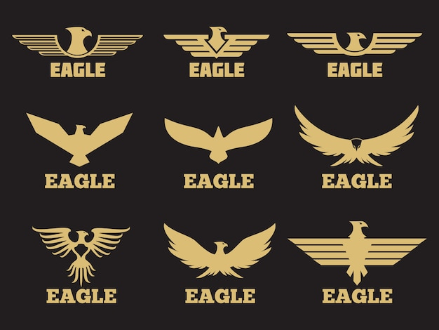 Gouden heraldische adelaars logo collectie Premium Vector
