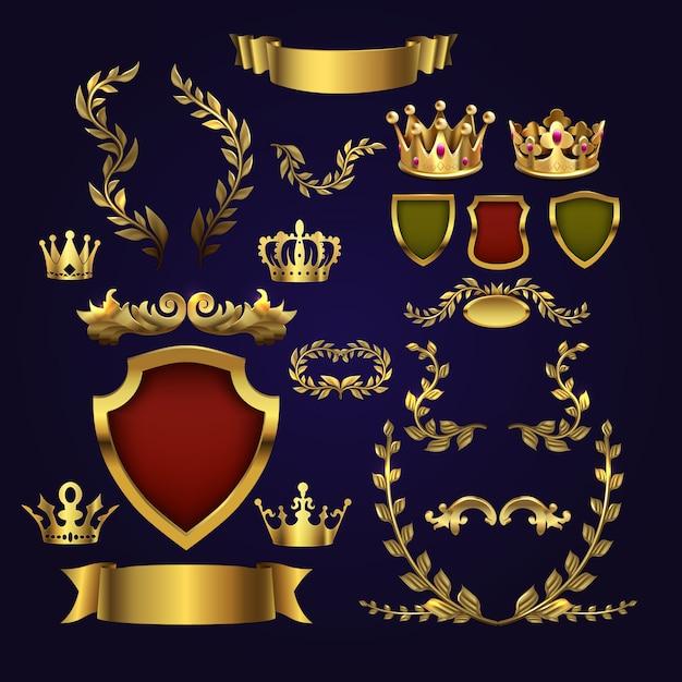 Gouden heraldische elementen. koningenkronen, lauwerkrans en koninklijk schild voor 3d labels Premium Vector