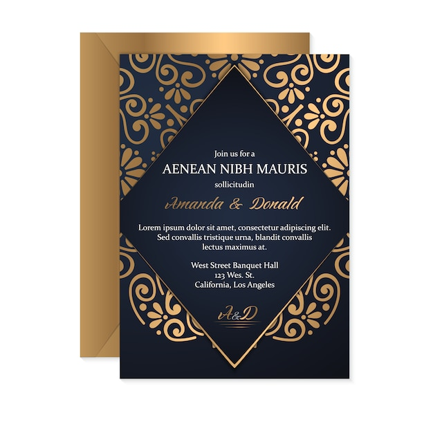 Gouden huwelijkskaart Gratis Vector