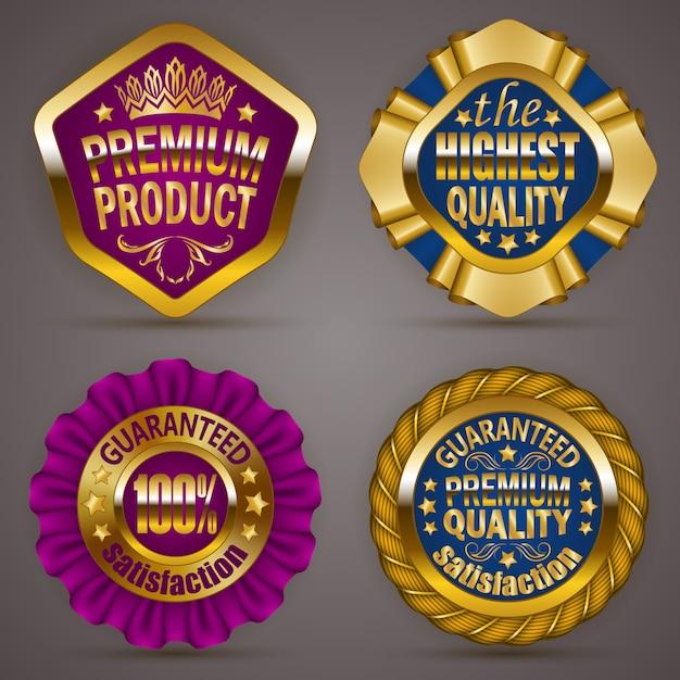 Gouden insignes Premium Vector