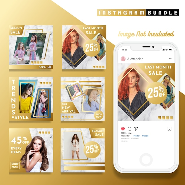 Gouden instagram mode post sjabloon Premium Vector